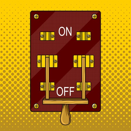 Huge electric knife switch off pop art retro vector illustration for comic book style imitation. Ilustração