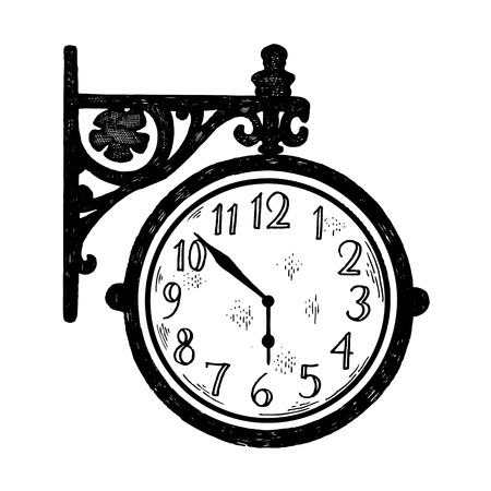 Vintage station clock engraving style vector