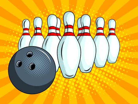 Skittles and bowling ball pop art style vector Stock Illustratie