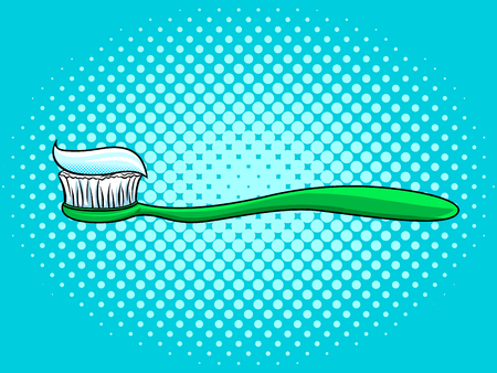 Toothbrush with toothpaste pop art style vector