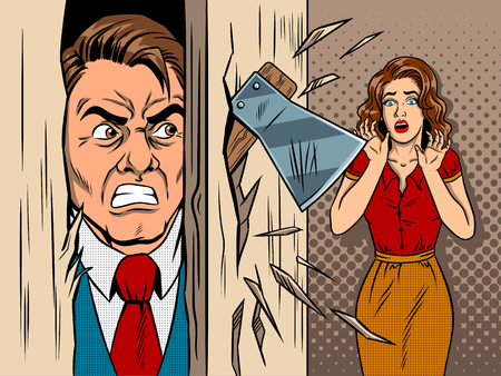 Man breaking in the door comic book style vector Illustration