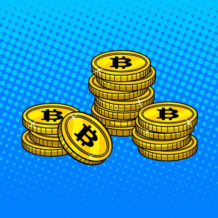 Bitcoin money pop art style vector illustration Illustration