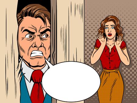 celos: Vendedor que rompe el vector de estilo de comic de puerta