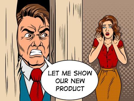Salesman breaking door comic book style vector  イラスト・ベクター素材