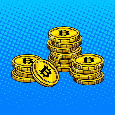 Bitcoin crypto currency money pop art style vector illustration for comic book style imitation