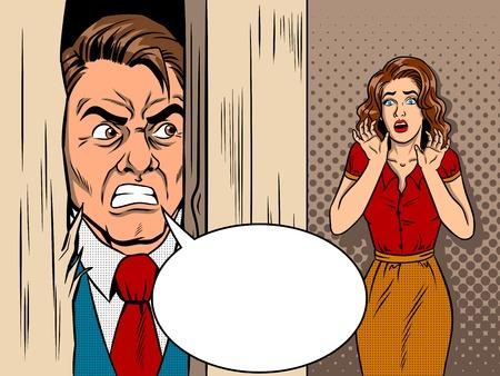 Vendedor que rompe la puerta de estilo cómico pop art retro estilo ilustración vectorial. Escena de la película. Promoción furiosa. Violencia en la familia. Foto de archivo - 83568364
