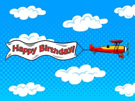 avion inscription à travers le ciel pop art vecteur Vecteurs