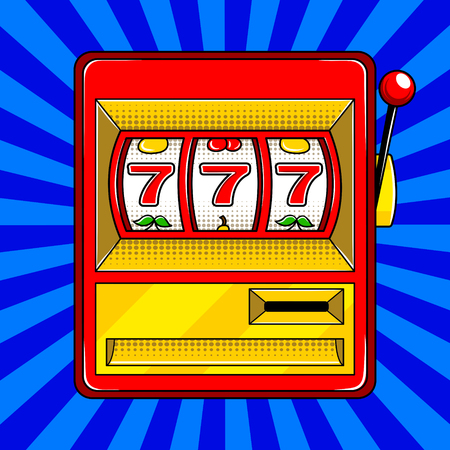 Slot machine pop art style vector illustration
