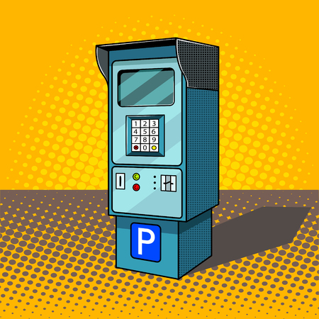Parking meter pop art style vector illustration. Comic book style imitation