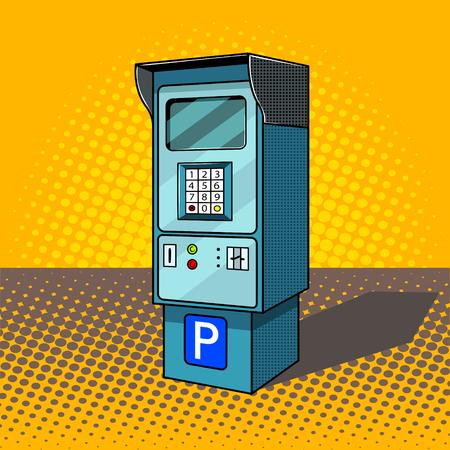 Parkuhr Pop-Art-Art-Vektor-Illustration. Comic-Stil Nachahmung Standard-Bild - 83616871