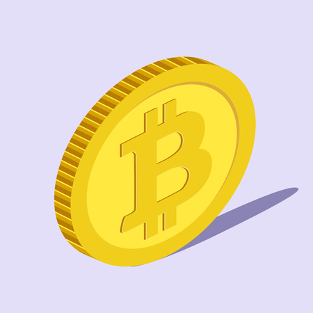 Bitcoin abstract coin isometric style colorful vector illustration