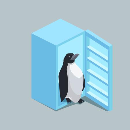Penguin loopt uit de koelkast. Kleurrijke minimalistische isometrische stijl vectorillustratie