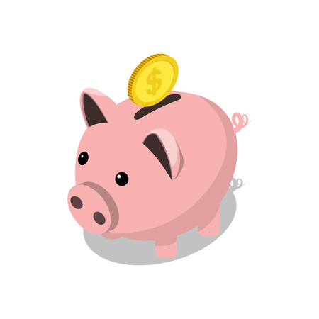 Piggy bank and gold coin isometric style colorful vector illustration