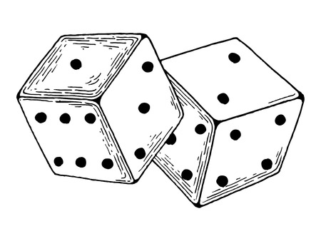 Dice game engraving vector illustration
