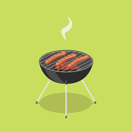 Sausages in barbecue. Colorful minimalistic isometric style vector illustration Ilustrace