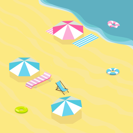 Sea beach. Colorful minimalistic isometric style vector illustration