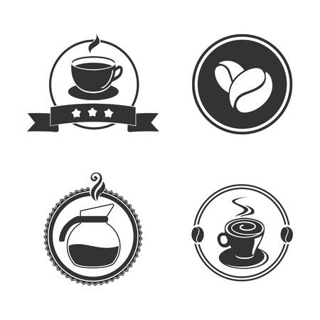 커피 엠 블 럼 벡터 일러스트 레이 션. 검정색과 흰색. 하나의 색상. 카페 로고