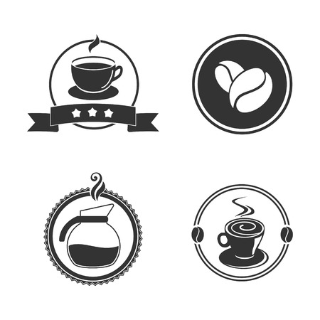 Coffee emblem vector illustration. Black and white. One color. Cafe logo 版權商用圖片 - 83684764