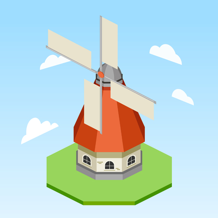 Windmill colorful minimalistic isometric style vector illustration