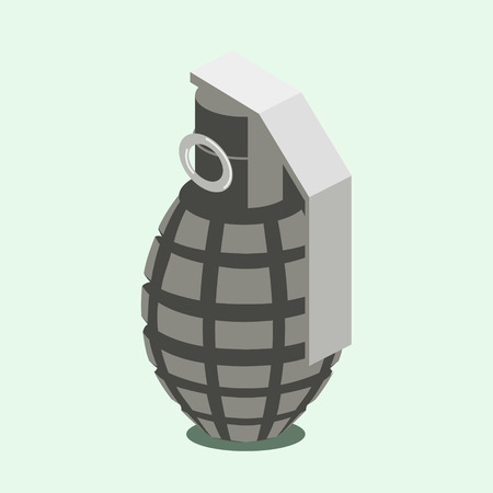 Hand grenade. Colorful minimalistic isometric style vector illustration Banco de Imagens - 83744978