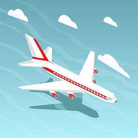 De kleurrijke vectorillustratie van de vliegtuig isometrische stijl. Lucht transport