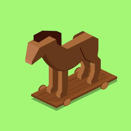 Illustration vectorielle isométrique du cheval de Troie