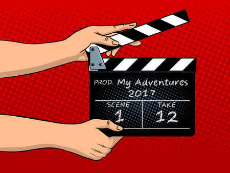 Film clapperboard popart vectorillustratie Stock Illustratie