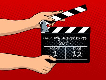 Movie clapperboard pop art vector illustration