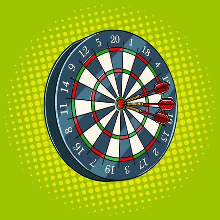 Darts game pop art style vector illustration