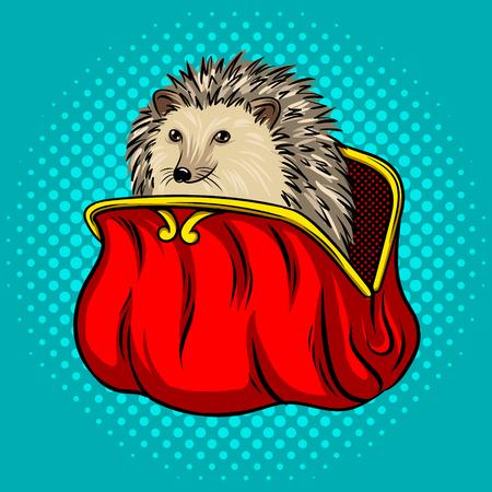 Hedgehog in a purse metaphor pop art vector Illustration