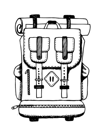 Backpack engraving vector illustration