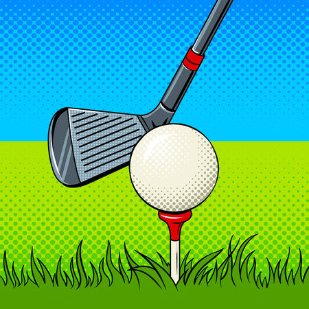 Putter and golf ball pop art style illustration. Comic book style imitation