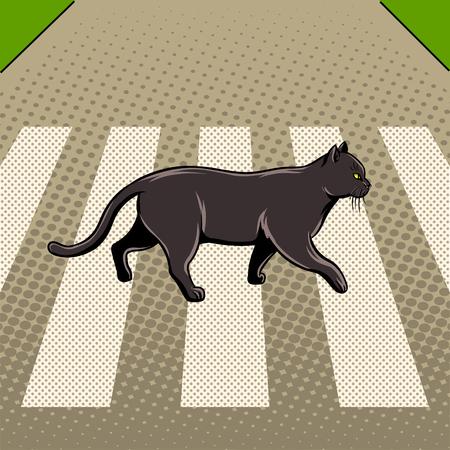 黒い猫は、道路の pop アート スタイルの図を交差させます。悪い兆候。コミック スタイルの模倣