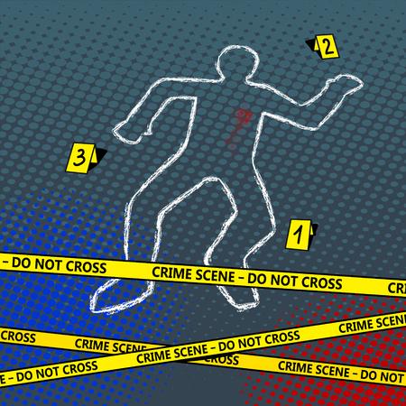 Crime scène lichaam krijt overzicht popart stijl illustratie. Slecht teken. Comic book stijl imitatie Stock Illustratie