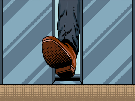 Illustrazione di stile di arte di schiocco della porta dell'ascensore di chiusura della tenuta del piede. Imitazione di stile di fumetti Archivio Fotografico - 84364210