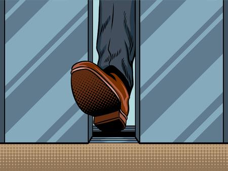 Voet houden sluiten lift deur pop-art stijl illustratie. Comic book stijl imitatie
