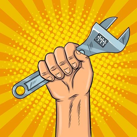 Clé à molette dans le style pop art de style pop illustration pour vecteur imitation de livre comique Banque d'images - 84369470