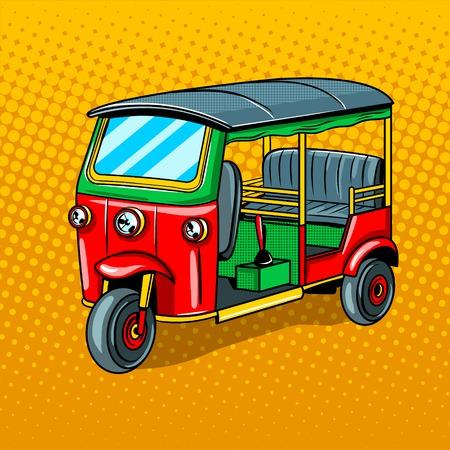 Auto-Rikscha-Transport-Pop-Art-Artvektorillustration. Nachahmung im Comic-Stil Standard-Bild - 84369230