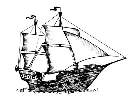 Vintage zeilen schip gravure vectorillustratie. Krasplankstijl imitatie. Hand getrokken afbeelding. Stockfoto