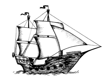 Vintage sailing ship engraving vector illustration. Scratch board style imitation. Hand drawn image.