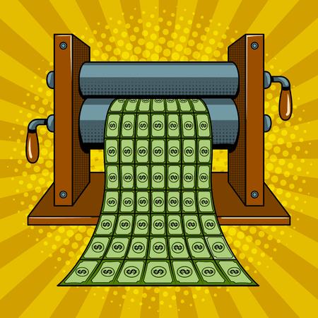 Maszyna drukarska drukuje pieniądze wektor pop-artu