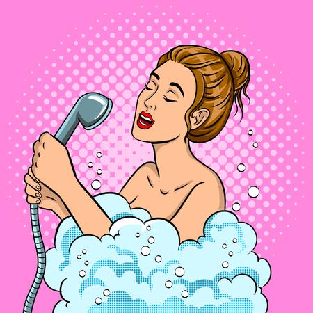 Fille chantant dans la douche pop art vector