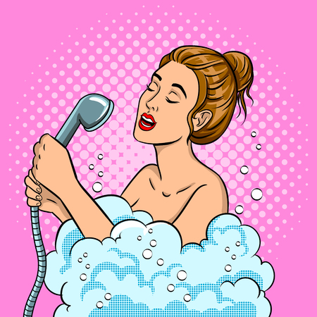Girl singing in the shower pop art vector