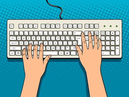 Handen op computer toetsenbord popart vector