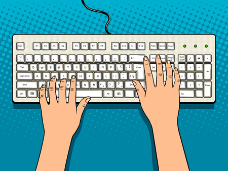 Hands on computer keyboard pop art vector
