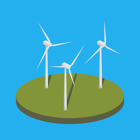 Wind power station isometric vector illustration