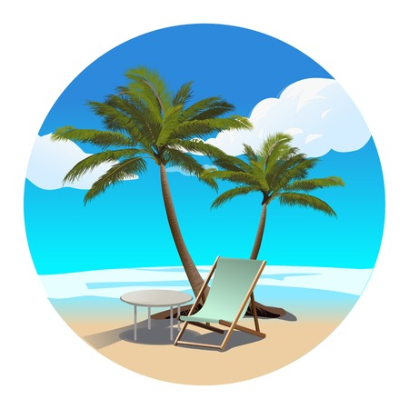 Playa de las palmas y chaise longue vectorlustration colorido Foto de archivo - 84444177