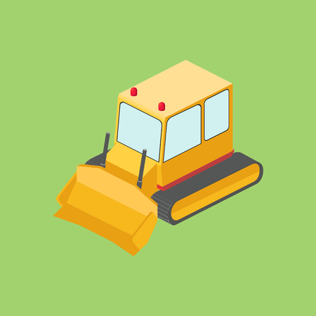 Tractor bulldozer isometric vector illustration
