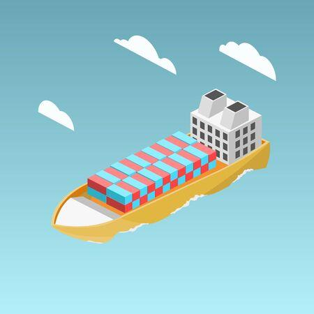 Vrachtschip met containers isometrische vector Stock Illustratie
