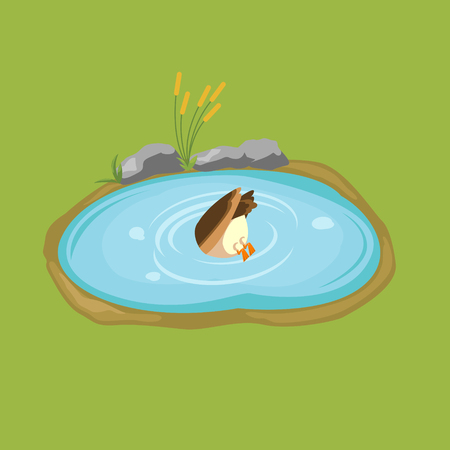 Duck dives into the pond isometric vector.